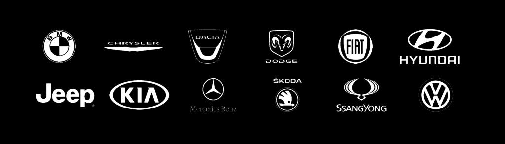 automerkkien logoja joihin asennetaan kumhon renkaat heti tehtaalla