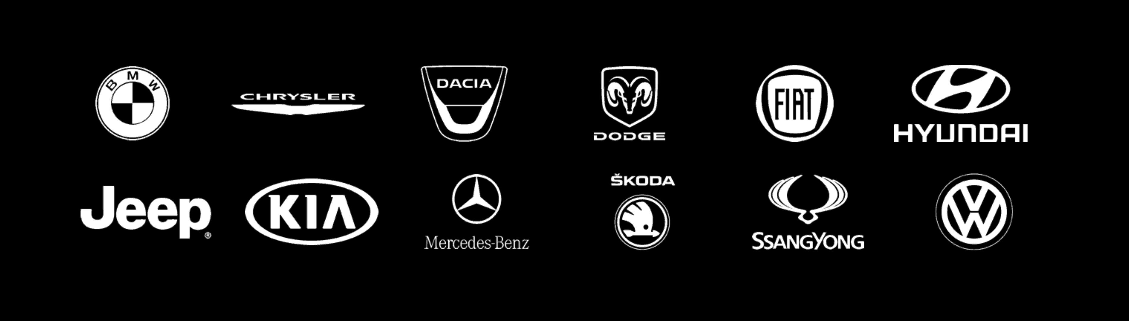 autonvalmistajien logoja kuten jeep, fiat, hyundai, kia ja bmw